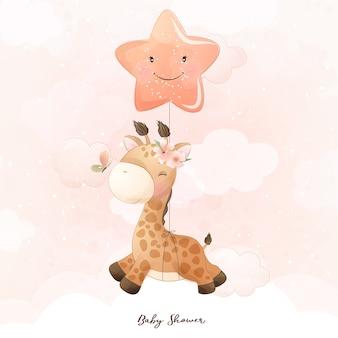 Girafe de doodle mignon avec illustration florale
