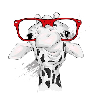 Girafe drôle avec des lunettes