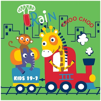 Girafe, éléphant et singe dans le train. dessin animé drôle d'animaux.