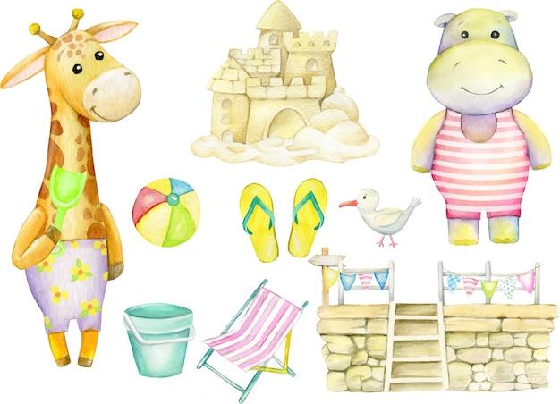 Girafe, hippopotame, albatros, château de sable, ballon, jetée, drapeaux, pantoufles de plage, seau. ensemble aquarelle.