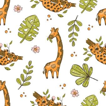 Girafe et léopard grunge dessiné à la main