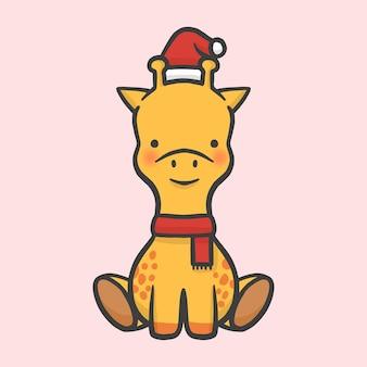 Girafe mignon costume noël vecteur de style dessin animé