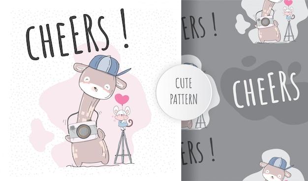 Girafe Mignon Modèle Sans Couture Plat Avec Caméra Vecteur Premium