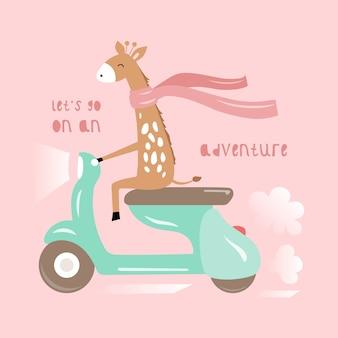 Girafe mignonne sur une carte de scooter