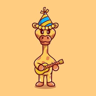Girafe mignonne célébrant le nouvel an avec illustration de guitare