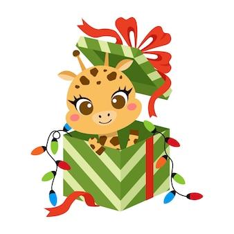 Girafe mignonne dans la boîte-cadeau de cadeau de noël