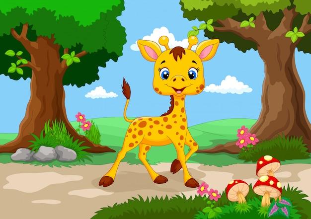Girafe mignonne dans le dessin animé de la jungle