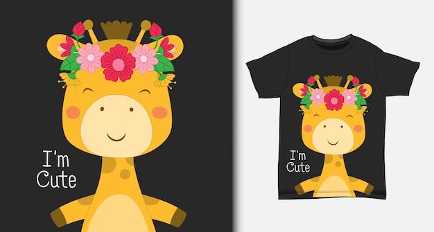 Girafe mignonne, avec un design de t-shirt.