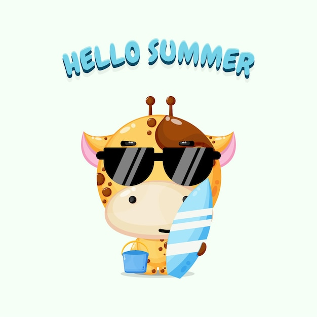 Girafe mignonne portant une planche de surf avec des salutations d'été