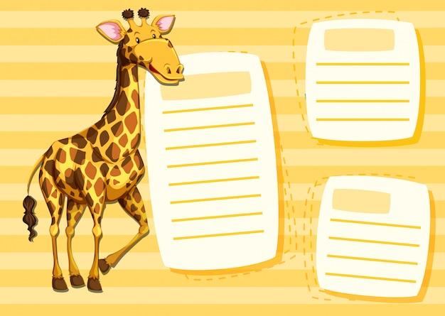 Une girafe sur un modèle de note