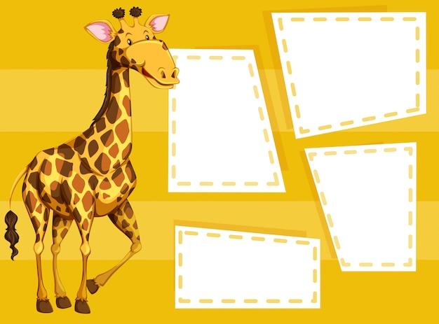 Girafe sur modèle de note