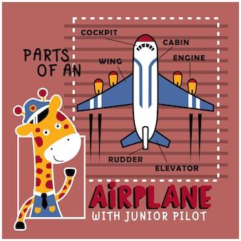 Girafe le pilote animal drôle de bande dessinée