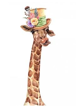 Girafe portant une aquarelle de chapeau de fleur. peinture girafe.