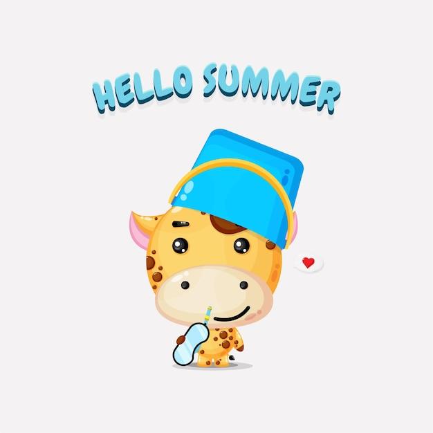 Girafe portant un chapeau de seau avec des salutations d'été