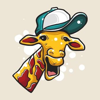 Girafe portant une illustration de chapeau