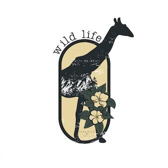 Girafe en vecteur double exposition pour votre conception