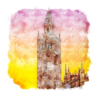 Giralda sevilla espagne croquis aquarelle illustration dessinée à la main