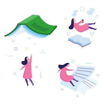 Girl book reader imaginative floating