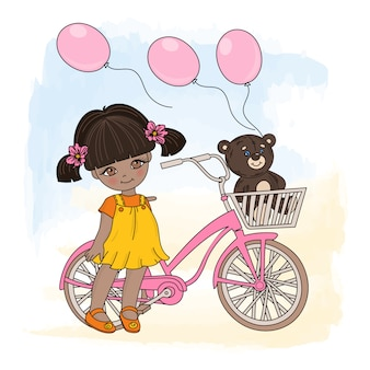 Girl cycle cartoon vector illustration set