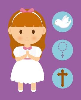Girl, dessin animé, colombe, croix, rosaire, icône