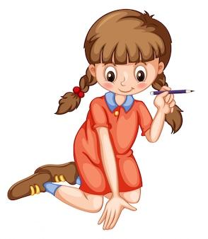 Girl, écriture, crayon, caractère, isolé