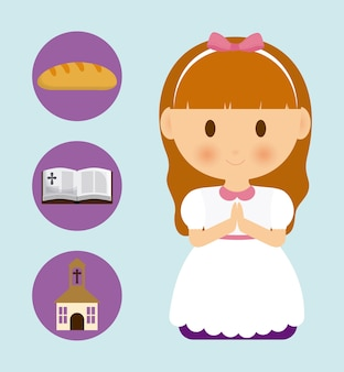 Girl, enfant, dessin animé, pain bread, bible, église, icône