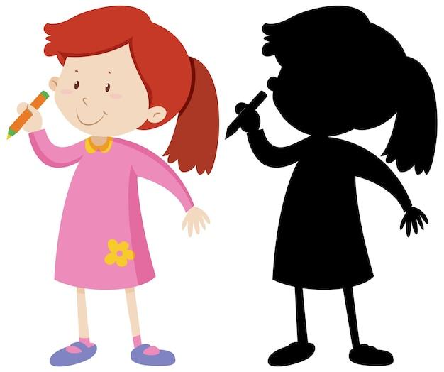 Girl holding crayon et sa silhouette