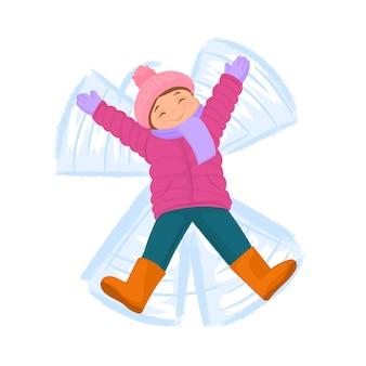 Girl making snow angel répandre les bras