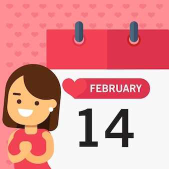 Girl over calender page - bannière de bannière horizontale avec joyeuse saint-valentin