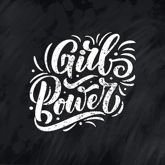 Girl power - citation lettrage. élément de typographie de conception graphique d'inspiration de calligraphie. écrit à la main