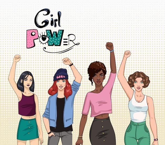 Girl power, concept de féminisme. différentes jeunes filles modernes avec les mains vers le haut. illustration colorée.