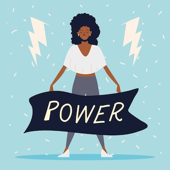 Girl power, femme afro-américaine avec message de puissance en ruban