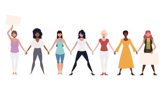 Girl power, groupe de personnages féminins se tenant la main