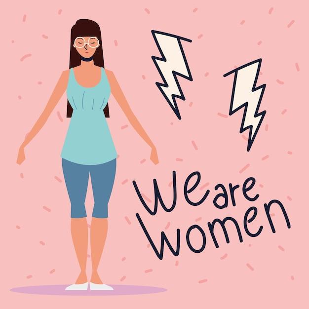 Girl power, jeune femme avec inspiration message