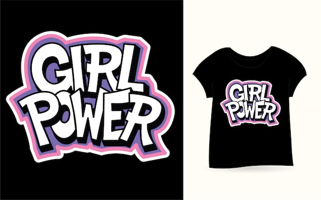 Girl power lettrage à la main pour t-shirt