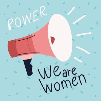 Girl power, motivation de message mégaphone
