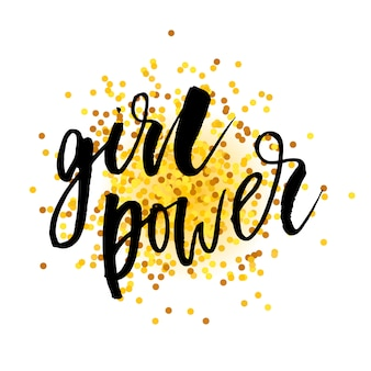 Girl power phrase lettrage calligraphie vector or