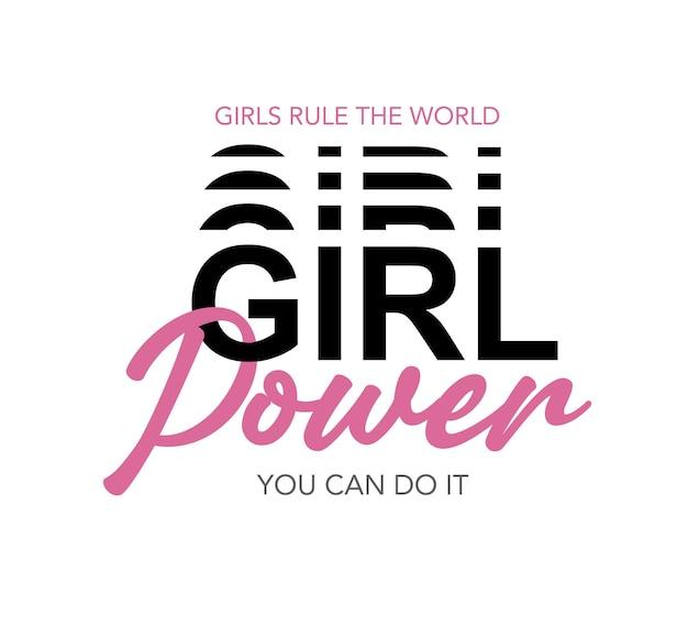 Girl power rose texte vector illustration design pour les graphiques de mode t-shirt imprime des affiches