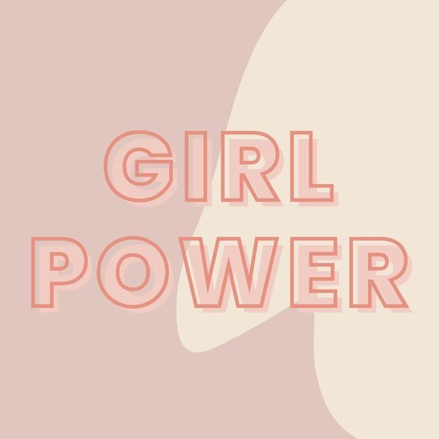 Girl power typographie sur un vecteur de fond marron et beige