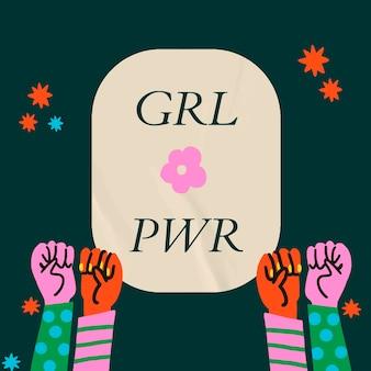 Girl power vecteur de modèle de médias sociaux avec solidarité mains levées
