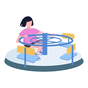 Girl, rotation, carrousel, caractère