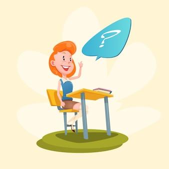 Girl sit school desk avec une levée de main levée