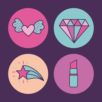 Girly icône sur l'image de fond