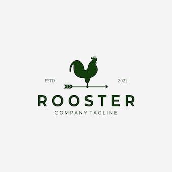 Girouette coq vintage logo vector design illustration, icône de coq, frais de ferme, entreprise d'élevage