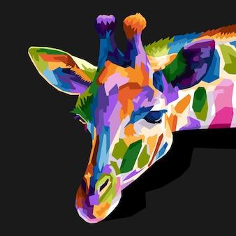 Girrafe coloré pop art portrait portrait décoration isolée conception d'affiches