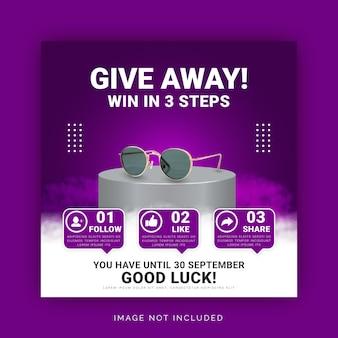 Give away win produit numérique modèle de bannière de publication instagram