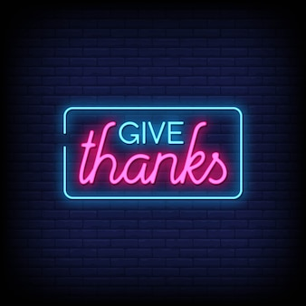 Give thanks style néon signes texte