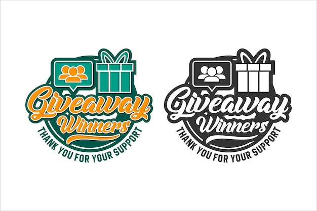 Giveaway gagnant merci pour votre soutien logo design