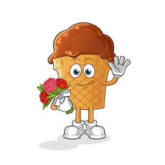 Glace au chocolat avec mascotte de bouquet.