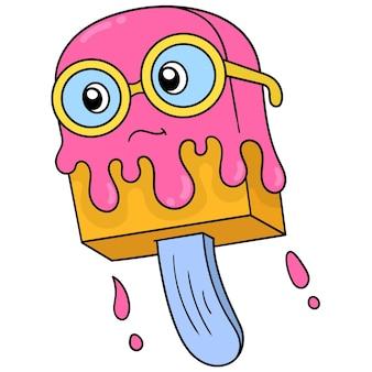 Glace d'été face ringard portant des lunettes rondes. icône de griffonnage kawaii.